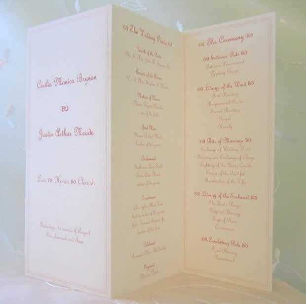 Bella Rella Wedding Programs